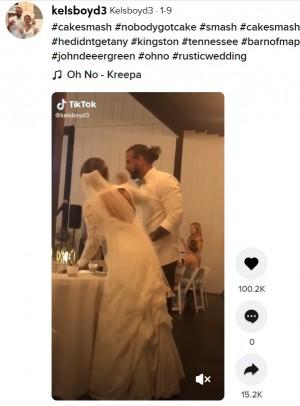 【海外発!Breaking News】新郎がケーキを土台ごと新婦の顔にお見舞い 「本人たちが良ければ…」「今すぐ離婚を」とSNSで賛否(米)<動画あり>