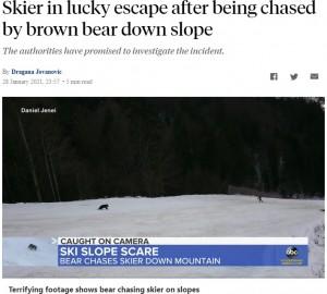 【海外発!Breaking News】背後に迫るヒグマにスキー客、冷静な行動により間一髪で無事(ルーマニア)<動画あり>