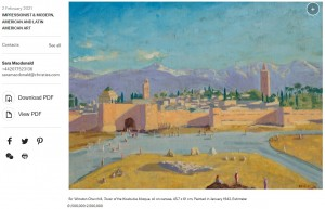 アンジェリーナが出品するチャーチル元首相手描きの油絵(画像は『Christie's Auctions & Private Sales 2021年2月2日付「PRESS RELEASE: Sir Winston Churchill's Only Wartime Painting to be Offered in the Modern British Art Evening Sale, 1 March」』のスクリーンショット)