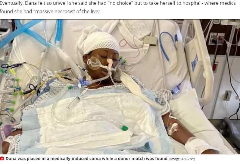 薬による昏睡状態に置かれたデーナさん(画像は『Mirror 2021年2月26日付「Woman's nose piercing infection led to urgent liver transplant after organ rotted」(Image: ABC7NY)』のスクリーンショット)