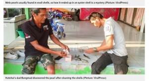 牡蠣を洗おうとしたバンマッドさんが、最初にメロパールを発見(画像は『Metro 2021年2月4日付「Poor fisherman finds rare pearl worth £250,000 while picking up shells」(Picture: ViralPress)』のスクリーンショット)