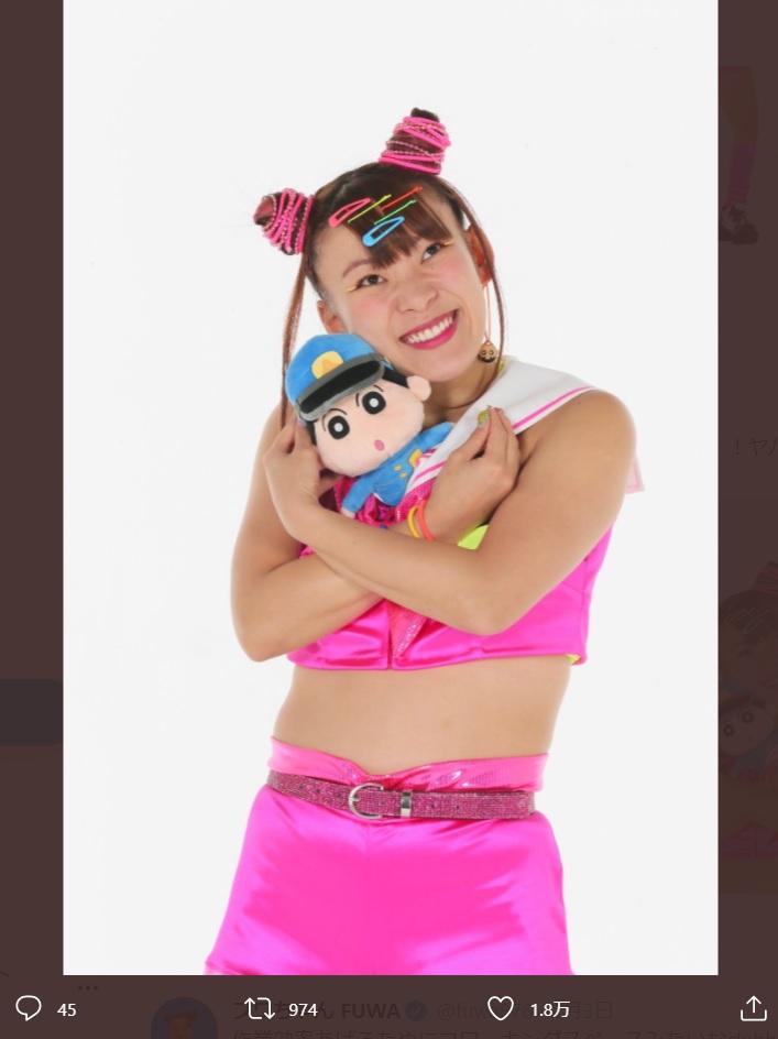 映画『クレヨンしんちゃん』出演を報告したフワちゃん(画像は『フワちゃん FUWA 2021年2月4日付Twitter「みて!!!! クレヨンしんちゃんの映画に、ウチらでる!!!!!!」』のスクリーンショット)
