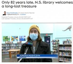 自宅のリフォーム中に今回の本を見つけたジョーダンさん(画像は『CTV News Atlantic 2021年1月28日付「「Only 82 years late, N.S. library welcomes back book as if it's a long-lost treasure」』のスクリーンショット)