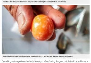 """【海外発!Breaking News】貧しい生活を送る男性""""不思議な夢""""で超希少な天然真珠を発見 3千万円以上で買い取りオファーも(タイ)"""
