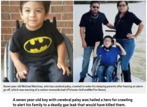 【海外発!Breaking News】車椅子生活の7歳男児、這って両親の寝室へ行き家族を一酸化炭素中毒から救う(米)