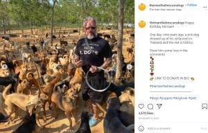 2011年に動物の保護活動を始めたマイケルさん(画像は『The Man That Rescues Dogs 2020年11月9日付Instagram「Happy Birthday Michael!」』のスクリーンショット)