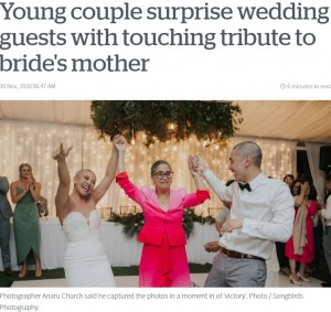 【海外発!Breaking News】末期がんの母のため、結婚式で丸刈りになったカップル(ニュージーランド)<動画あり>