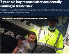 【海外発!Breaking News】「もう終わりだと思った」ゴミ収集車に投げ込まれた7歳男児、運転手が間一髪で救う(米)