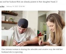 【海外発!Breaking News】スクラッチ宝くじで妊娠を伝えた女性 夫の反応に笑顔が溢れる(米)<動画あり>