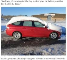 【海外発!Breaking News】雪に覆われ、わずかな視界で運転していた男が逮捕 「雪除けなんてすぐなのに」と呆れる声(英)