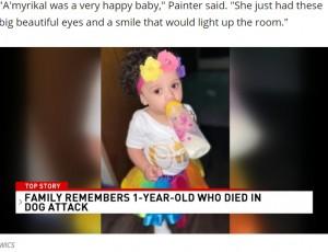 今月7日に1歳になったばかりだったアミリカルちゃん(画像は『WSYX 2021年3月20日付「Dog kills toddler after she got too close to food bowl」(Photo provided by the family)』のスクリーンショット)