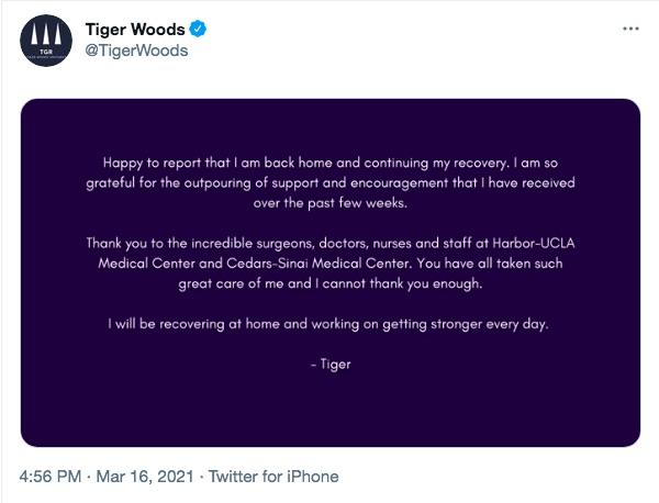 ファンや病院スタッフに感謝の意を綴ったタイガー(画像は『Tiger Woods 2021年3月16日付Twitter』のスクリーンショット)