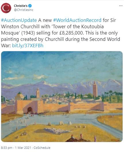 英ウィンストン・チャーチル元首相が描いたマラケシュの風景画(画像は『Christie's 2021年3月1日付Twitter「#AuctionUpdate A new #WorldAuctionRecord for Sir Winston Churchill with 'Tower of the Koutoubia Mosque' (1943) selling for £8,285,000.」』のスクリーンショット)