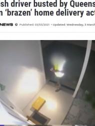 【海外発!Breaking News】「届いたはずの荷物がない」悪徳デリバリースタッフの所業を監視カメラがしっかり見ていた!(豪)<動画あり>
