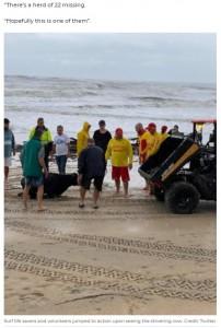 通報を受けたライフセーバーが駆けつけて牛を保護(画像は『7NEWS.com.au 2021年3月21日付「Distressed cow rescued from surf as being swept away in flood near Taree during storm」(Credit: Twitter)』のスクリーンショット)