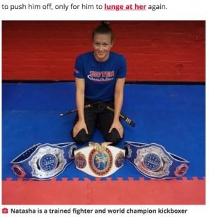 【海外発!Breaking News】キックボクシング世界王者の女性、男に襲われそうになり顔面を一撃(スコットランド)