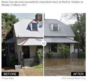 100年に一度の大洪水により、家の目の前も濁流に飲まれた(画像は『news.com.au 2021年3月22日付「Photos that show the devastation caused by floods in NSW」(John Grainger/News Corp)』のスクリーンショット)
