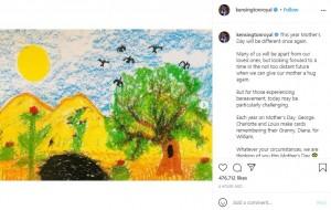 ジョージ王子が描いた風景画(画像は『Duke and Duchess of Cambridge 2021年3月14日付Instagram「This year Mother's Day will be different once again.」』のスクリーンショット)