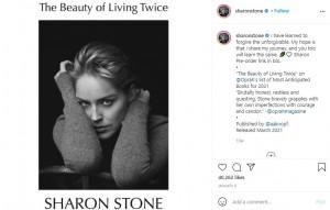 シャロンの回顧録『The Beauty of Living Twice』(画像は『Sharon Stone 2021年1月8日付Instagram「I have learned to forgive the unforgivable.」』のスクリーンショット)