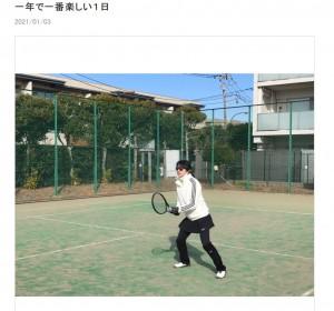 田中美佐子、正月のテニス大会にて(画像は『田中美佐子 2021年1月3日付オフィシャルブログ「一年で一番楽しい1日」』のスクリーンショット)