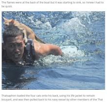 沈む船から4匹の猫を救出 肩に乗せて海を泳いだ海兵隊員に称賛の声(タイ)