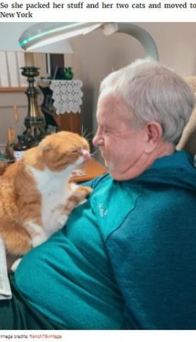 【海外発!Breaking News】がんの男性にピタリと寄り添うネコ 「病気だとわかるのよ」と飼い主(米)<動画あり>