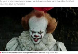 """映画『IT/イット """"それ""""が見えたら、終わり。』に登場する不気味なピエロ""""ベニーワイズ""""(画像は『Daily Star 2021年4月27日付「Fluffy dog 'devastated' after returning from groomers 'looking like Pennywise the clown'」(Image: WARNER BROS)』のスクリーンショット)"""