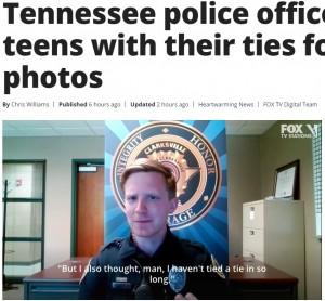 「ネクタイを結ぶのは久しぶりだった」とアダムさん(画像は『FOX 35 Orlando 2021年4月5日付「'This is the way it should be': Tennessee police officer helps teens with their ties for senior photos」』のスクリーンショット)