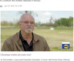 親切な行動は「自分も気分が良くなる」と話すアルビンさん(画像は『People.com 2021年4月21日付「Stranger Gifts 4-Year-Old Twins a Puppy After Finding Balloon Containing Their Gift Wish List」』のスクリーンショット)
