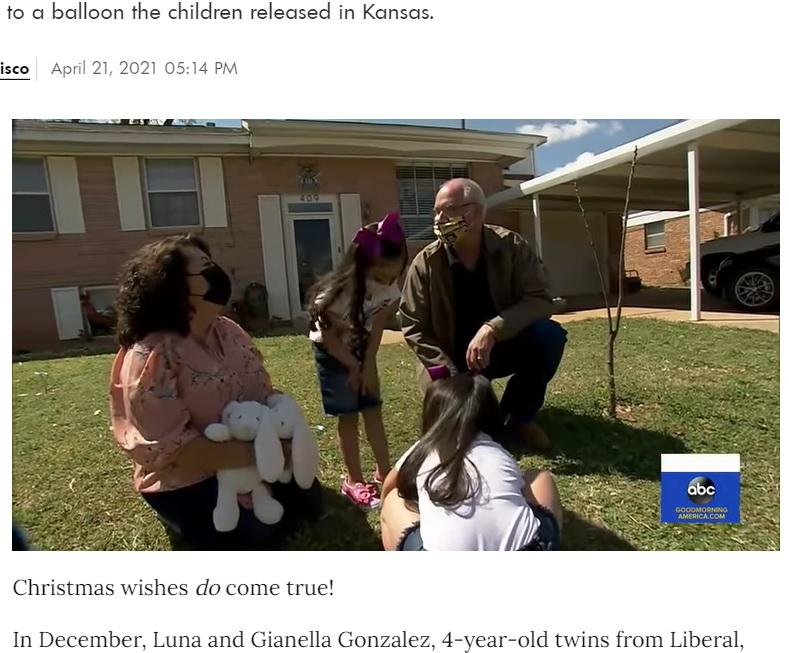 双子の母親レティシアさんも「まさか本当に願い事が叶うとは」と驚く(画像は『People.com 2021年4月21日付「Stranger Gifts 4-Year-Old Twins a Puppy After Finding Balloon Containing Their Gift Wish List」』のスクリーンショット)