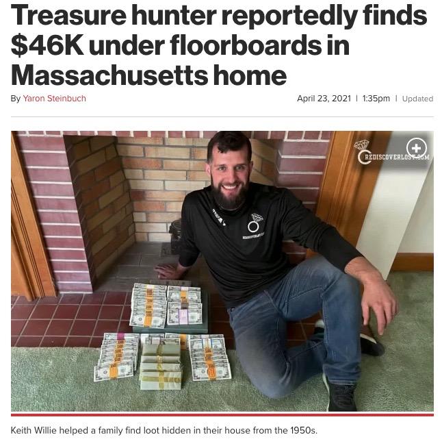 屋根裏から500万円以上の現金を発見したトレジャーハンター(画像は『New York Post 2021年4月23日付「Treasure hunter reportedly finds $46K under floorboards in Massachusetts home」(YouTube/RediscoverLost)』のスクリーンショット)
