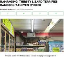 【海外発!Breaking News】「まるでゴジラ!」コンビニに現れた巨大トカゲに店内騒然(タイ)<動画あり>