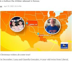 風船は双子の自宅から1000キロ以上も離れた場所にいたアルビンさんの元に届く(画像は『People.com 2021年4月21日付「Stranger Gifts 4-Year-Old Twins a Puppy After Finding Balloon Containing Their Gift Wish List」』のスクリーンショット)