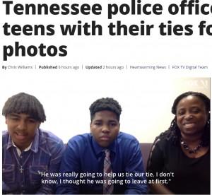 卒業アルバム用の写真を撮りに行くところだったイライジャさんとジェイレンさん、右端はミシェルさん(画像は『FOX 35 Orlando 2021年4月5日付「'This is the way it should be': Tennessee police officer helps teens with their ties for senior photos」』のスクリーンショット)