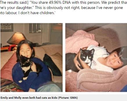 同時期に同じようなネコを飼っていた2人(画像は『Metro 2021年4月20日付「Identical twins reunite on 36th birthday after being adopted from Korea at birth by separate US families」(Picture: GMA)』のスクリーンショット)