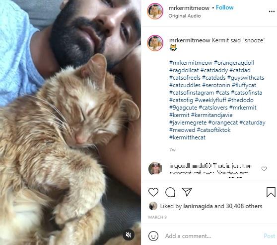 """いつも一緒に寝ているというカーミットとハビエルさん(画像は『Javie & Mr. Kermit 2021年3月9日付Instagram「Kermit said """"snooze""""」』のスクリーンショット)"""