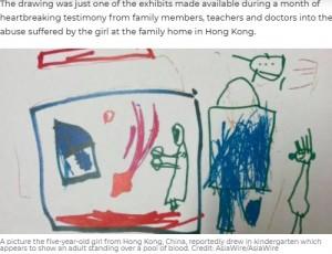 亡くなった女児が幼稚園で描いた絵(画像は『7NEWS.com.au 2021年4月16日付「Drawing done by five-year-old leads to parents' murder conviction over her death」(Credit: AsiaWire/AsiaWire)』のスクリーンショット)