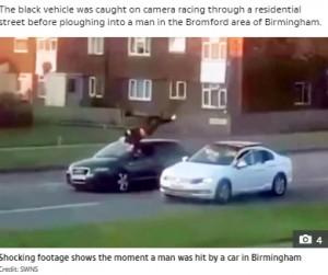【海外発!Breaking News】車にはねられた男性が宙を舞う衝撃映像 ドラッグやギャング絡みか(英)<動画あり>