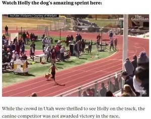 グレイシーさんに追い付くとスピードを落としてからゴールしたホーリー(画像は『Insider 2021年4月23日付「A very speedy dog snuck into a high school relay race and ran the final 100m almost as fast as an Olympic sprinter」』のスクリーンショット)