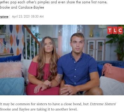 ブルックさんと苛立ちを隠せない夫のデンバーさん(画像は『People.com 2021年4月23日付「Extreme Sisters: 2 Adult Siblings Continue to Sleep in the Same Bed in New TLC Series」(CREDIT: TLC)』のスクリーンショット)