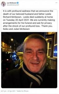 突然の訃報を伝えたレスリーの家族(画像は『Les McKeown 2021年4月22日付Twitter』のスクリーンショット)