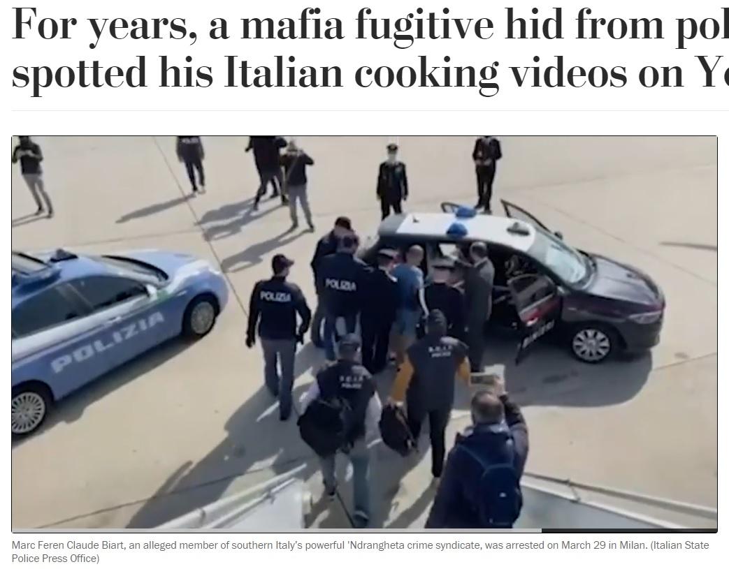 マークの身柄はドミニカ共和国からイタリアの警察に引き渡された(画像は『The Washington Post 2021年3月30日付「For years, a mafia fugitive hid from police. Then they spotted his Italian cooking videos on YouTube.」(Italian State Police Press Office)』のスクリーンショット)
