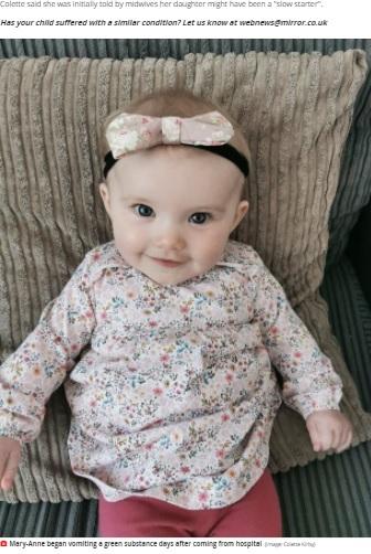 体重が7キロを超え、食欲も戻ったメリーアンちゃん(画像は『Mirror 2021年4月26日付「Green vomit led to baby girl's rare diagnosis and life-saving emergency surgery」(Image: Colette Kirby)』のスクリーンショット)