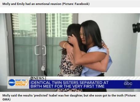 36歳の誕生日に再会した2人(画像は『Metro 2021年4月20日付「Identical twins reunite on 36th birthday after being adopted from Korea at birth by separate US families」(Picture: GMA)』のスクリーンショット)