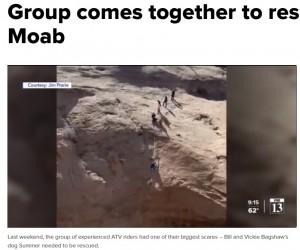 通りがかりの人も含め、協力してスティーブンさんをサマーのところまで下ろした(画像は『fox13now.com 2021年3月29日付「Group comes together to rescue dog in Moab」』のスクリーンショット)