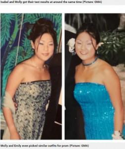 ドレスや髪型まで似ているプロムの写真(画像は『Metro 2021年4月20日付「Identical twins reunite on 36th birthday after being adopted from Korea at birth by separate US families」(Picture: GMA)』のスクリーンショット)