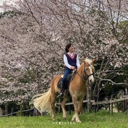 """【エンタがビタミン♪】""""国民的美少女""""佐藤藍子の今、馬に乗ってお花見する光景に「桜より美しい」の声"""