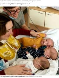 """【海外発!Breaking News】""""2億分の1の確率""""で一卵性の三つ子を自然妊娠で授かった女性「そっくりすぎて頭の形で見分けているの!」(英)"""