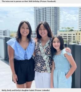 モーリーさん(左)、エミリーさんと娘のイザベルちゃん(画像は『Metro 2021年4月20日付「Identical twins reunite on 36th birthday after being adopted from Korea at birth by separate US families」(Picture: LinkedIn)』のスクリーンショット)