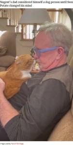 キスをする? スイート・ポテト(画像は『Bored Panda 2021年4月14日付「Cat Refuses To Leave The Side Of His Grandpa Who's Fighting Cancer」(Image credits: french75vintage)』のスクリーンショット)